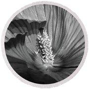 Hibiscus Black And White Round Beach Towel