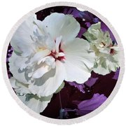 Round Beach Towel featuring the photograph Hibiscus - Circa 2006 Saratoga, Ny by Iowan Stone-Flowers