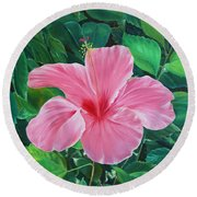 Round Beach Towel featuring the painting Hibiscus by Elizabeth Lock