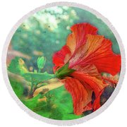 Hibiscus Flame Round Beach Towel