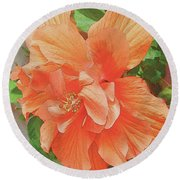 Round Beach Towel featuring the painting Hibiscus Flower by John Dyess