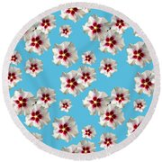Round Beach Towel featuring the mixed media Hibiscus Flower Pattern by Christina Rollo