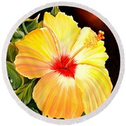 Hibiscus Glory Round Beach Towel