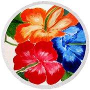 Hibiscus Round Beach Towel by Jamie Frier