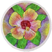 Hibiscus Round Beach Towel by Janet Immordino
