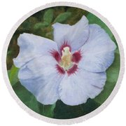 Round Beach Towel featuring the painting Hibiscus by Joshua Martin
