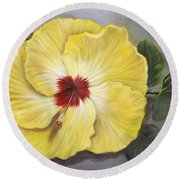 Round Beach Towel featuring the painting Hibiscus Moon Pie by Randol Burns