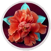 Hibiscus On Glass Round Beach Towel