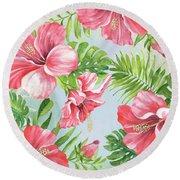 Hibiscus Paradise-jp3965 Round Beach Towel