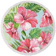 Hibiscus Paradise-jp3966 Round Beach Towel