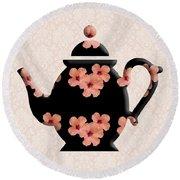 Hibiscus Pattern Teapot Round Beach Towel