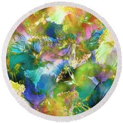 Round Beach Towel featuring the digital art Hibiscus Trumpets by Klara Acel