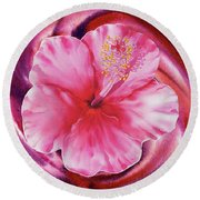 Hibiscus Watercolor Vortex Round Beach Towel