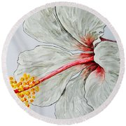 Hibiscus White And Red Round Beach Towel by Sheron Petrie