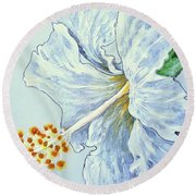 Round Beach Towel featuring the painting Hibiscus White And Yellow by Sheron Petrie