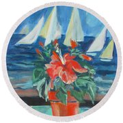 Hibiscus With An Orange And Sails For Breakfast Round Beach Towel