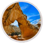 Round Beach Towel featuring the photograph Hickman Bridge Natural Arch - Capitol Reef National Park by Dany Lison