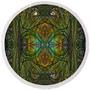 Round Beach Towel featuring the digital art Hidden Aztec Temple by Reed Novotny