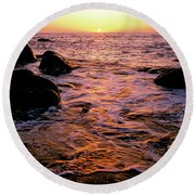 Hidden Cove Sunset Redwood National Park Round Beach Towel by Ed  Riche