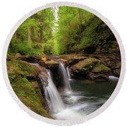 Hidden Falls At Rock Creek Round Beach Towel
