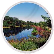 Round Beach Towel featuring the photograph Hidden Lake by Gary Wonning
