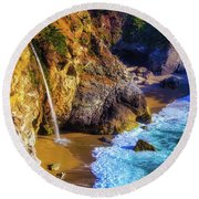 Hidden Waterfall Round Beach Towel
