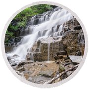 Round Beach Towel featuring the photograph Hidden Waterfalls by Margaret Pitcher