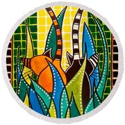 Hide And Seek - Cat Art By Dora Hathazi Mendes Round Beach Towel by Dora Hathazi Mendes
