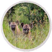 Hide-n-seek Hyenas Round Beach Towel
