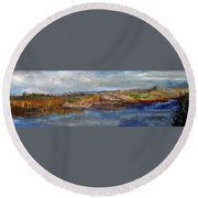 Round Beach Towel featuring the painting Tranquility by Michael Helfen