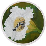 Fairy Hiding Place Inside The Hawaiian Lily Round Beach Towel