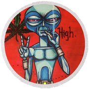 High Alien Round Beach Towel