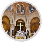 High Alter Notre Dame Cathedral Paris France Round Beach Towel