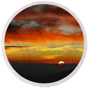 High Altitude Fiery Sunset Round Beach Towel