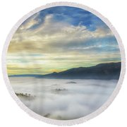 High Clouds Above Fog Round Beach Towel
