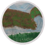 Round Beach Towel featuring the painting High Country  by Don Koester