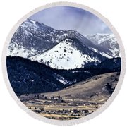 High Country Snow Storm Round Beach Towel by Nancy Marie Ricketts