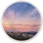 Round Beach Towel featuring the photograph High Country View by Sharon Seaward