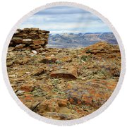 High Desert Cairn Round Beach Towel by Eric Nielsen