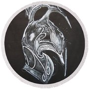 High Elven Warrior Helmet Round Beach Towel