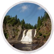 High Falls At Tettegouche State Park Round Beach Towel