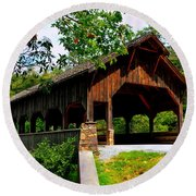 High Falls Covered Bridge Round Beach Towel