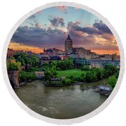 High Falls Panorama Round Beach Towel