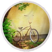 Round Beach Towel featuring the photograph High Handle-bar Bicycle by Craig J Satterlee