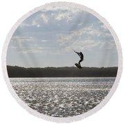 Round Beach Towel featuring the photograph High Jump  by Miroslava Jurcik