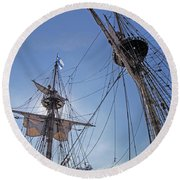 High On The Foremast Round Beach Towel by Allan Levin
