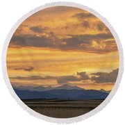 Round Beach Towel featuring the photograph High Plains Meet The Rocky Mountains At Sunset by James BO Insogna