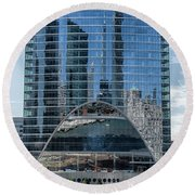 Round Beach Towel featuring the photograph High Rise Reflections by Alan Toepfer