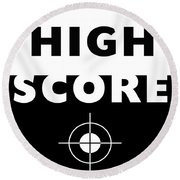Round Beach Towel featuring the mixed media High Score- Art By Linda Woods by Linda Woods