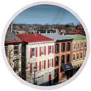 High Street In Historic Downtown West Chester, Pennsylvania Round Beach Towel